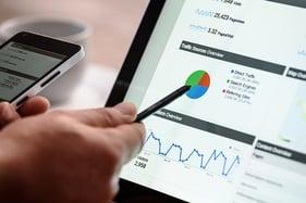 digital marketing interface on tablet