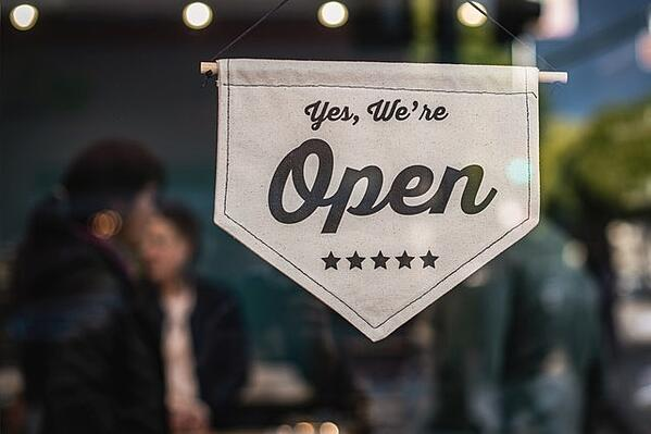 Yes we're open business sign